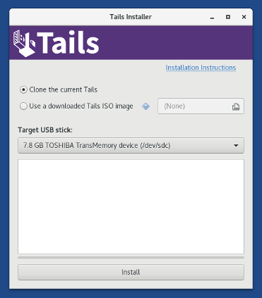 Tails Installer: 'Clone the current Tails'